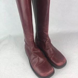 Donald Pliner Tall Red Leather Boots Elastic Back